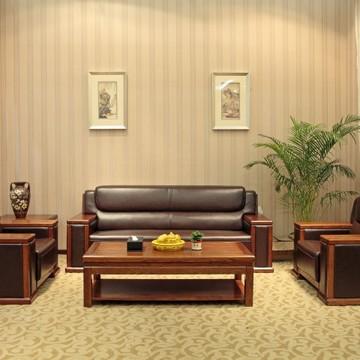 天玺沙发 纯实木家具 新中式办公沙发 纯实木 真皮沙发 厂家直销-辉腾