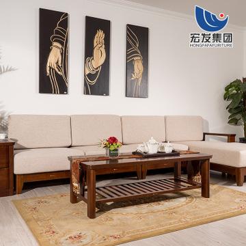 厂家直销布艺实木沙发1208 中式布艺沙发组合 高级办公家具批发-宏发