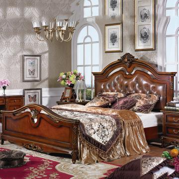 欧式经典实木低箱双人床 时尚简美软包靠背家居实木床厂家批发