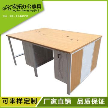 多人组合钢木结构办公桌 实木组合电脑桌定制网吧桌 简约电脑桌