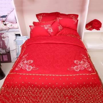 新款结婚床上十件套 真爱永恒十件套高支高密纯棉床上用品