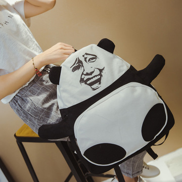 熊猫金馆长暴走移动表情包 张学友帆布双肩包 书包背包