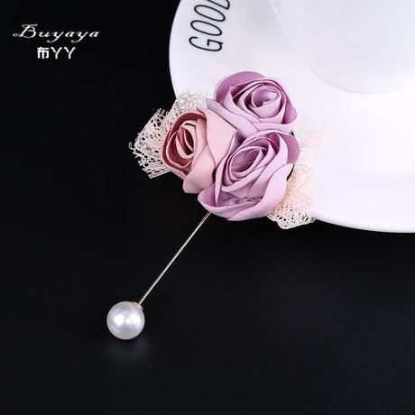 韩国布艺手工布艺长胸针 婚庆婚礼饰品玫瑰胸花