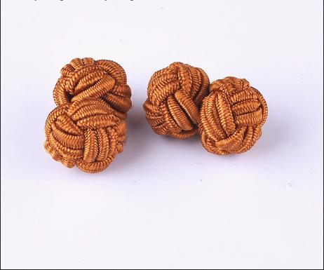 中国结绳扣袖扣 中国风中式盘扣 打结松紧袖扣 手工编织cufflinks图片