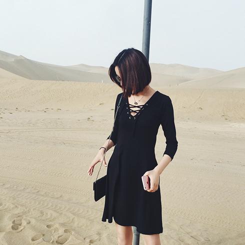 千淘百恋欧美风小黑裙