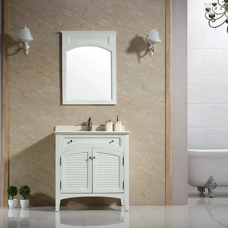 浴室柜美式乡村卫浴柜可定制浴柜橡胶木和多层板综合应用组合柜