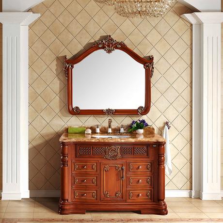 豪华欧式仿古浴室柜美式实木卫浴柜落地实木洗脸池洗手盆柜组合