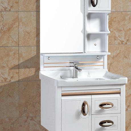 简约欧式pvc浴室柜组合洗手脸盆洗漱台卫生间防水挂墙式吊柜8917