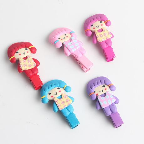 日韩可爱小女孩彩陶发夹 女宝卡通发卡 儿童发饰头饰新品批发