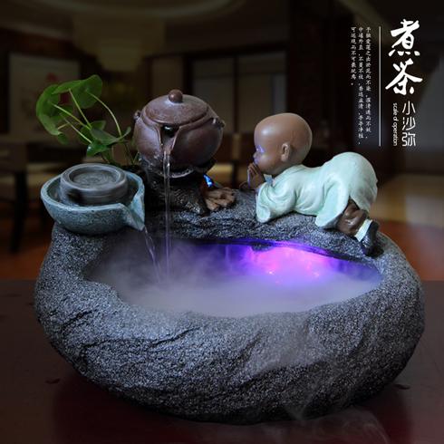 快消生活潮品店-煮茶小沙弥摆件