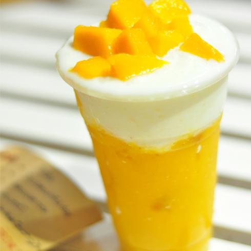 零度鲜饮奶茶饮品-芒果奶盖