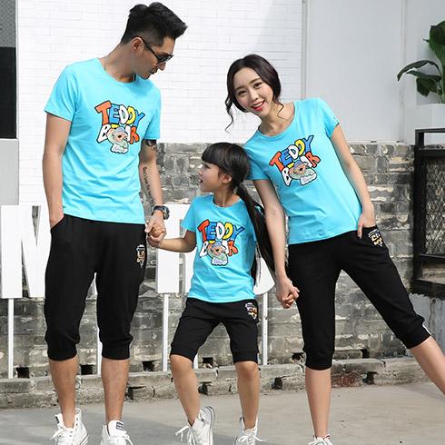 甜蜜风亲子装-蓝色卡通字母T恤