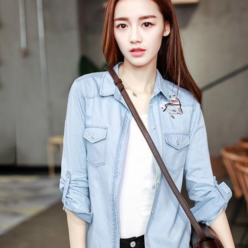 千姿惠女装-春季淡蓝衬衫