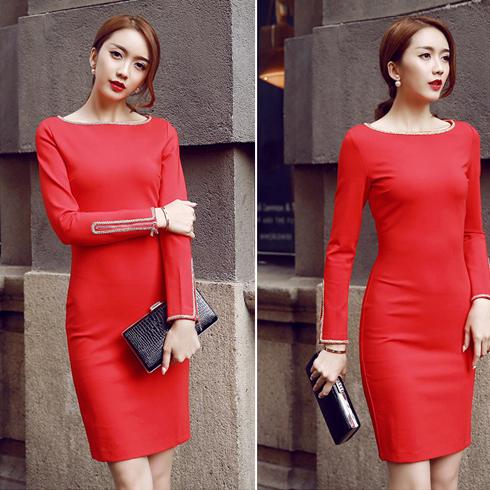Qanzhui女装-红色OL装