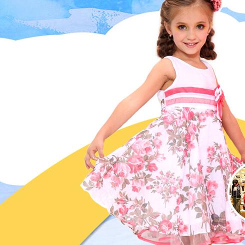 熊奈儿童装-花纹连衣裙