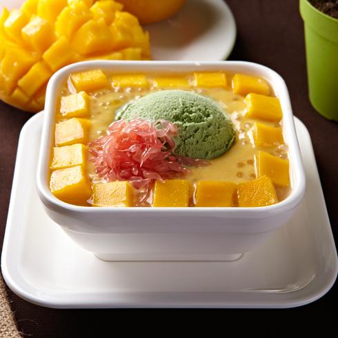 堂代甜品-雪山杨枝甘露配绿茶雪糕