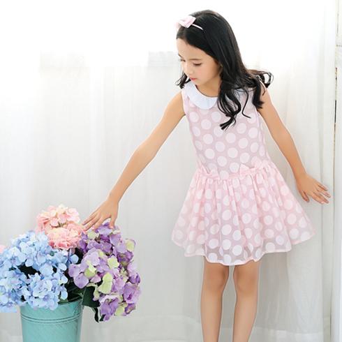 贝蕾尔-可爱粉色圆点连衣裙