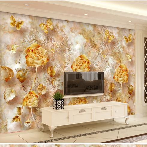 亿博集成墙板-玫瑰浮雕背景墙