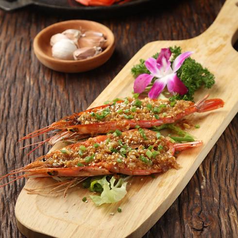 硬货海鲜饭-传统蒜蓉烤阿根廷红虾