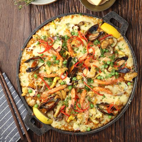 硬货海鲜饭-醇香芝士烤大虾海鲜饭(双人份)