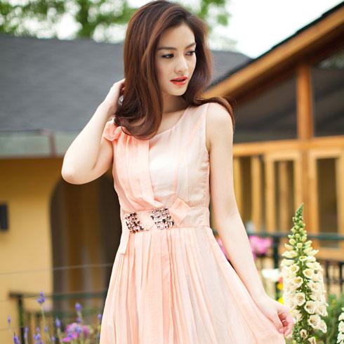 麦光女装-粉色雪纺裙