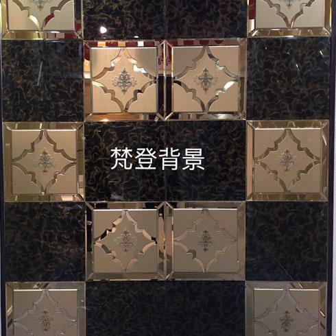金茶镜面雕花玻璃贴图
