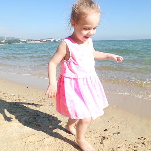 芭乐兔童装-粉色无袖套装裙