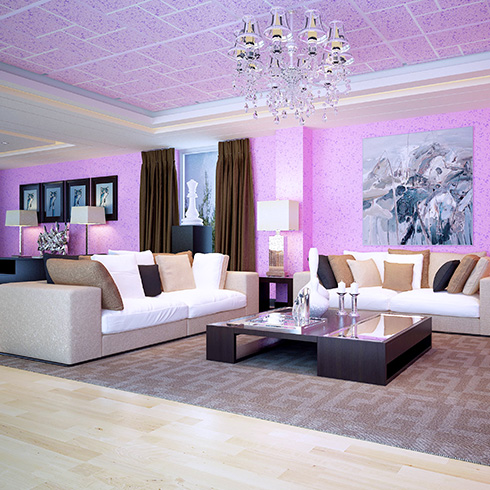 科温士水性彩色颗粒漆-天空蓝墙面装修效果图