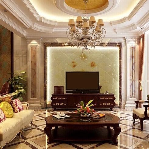 翡御石业新型石材-家庭客厅效果