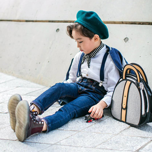 宝乐笛童装-帅气背带裤套装