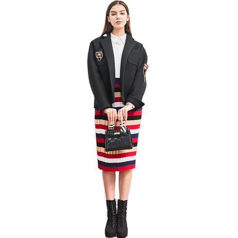 艾丽哲女装-秋冬海军风条纹套装