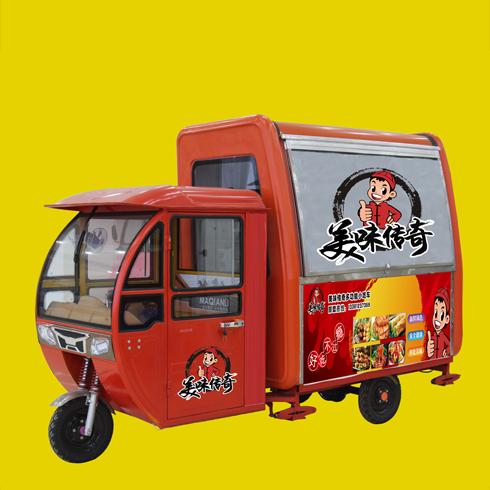 美味传奇小吃车-红色三轮餐车