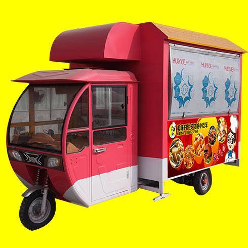 美味时代小吃车-红色三轮餐车