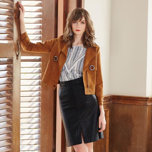 金蝶茜妮女装-春季棕色短款外套