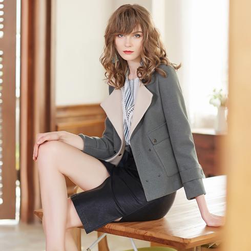 金蝶茜妮女装-深灰色短款外套