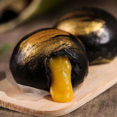 欢辣啵啵鱼快餐-黑芝麻蛋黄包