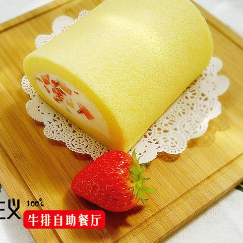 热食主义自助牛排-草莓蛋糕卷