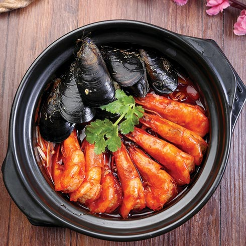 虾得乐烧汁虾米饭-青口贝鲜虾锅饭