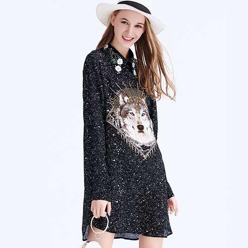 艾米女装-黑色衬衫连衣裙