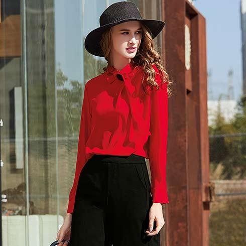 艾米女装-长袖红色上衣