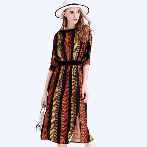 艾米女装-数码印彩条图案连衣裙