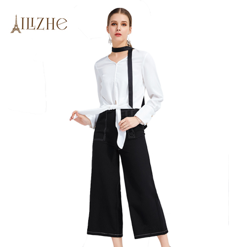 艾丽哲女装-春秋季长袖丝结衬衫