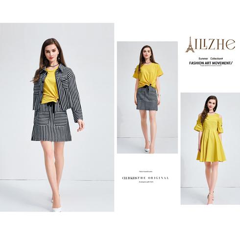 艾丽哲女装-春季衬衫女长袖条纹裙