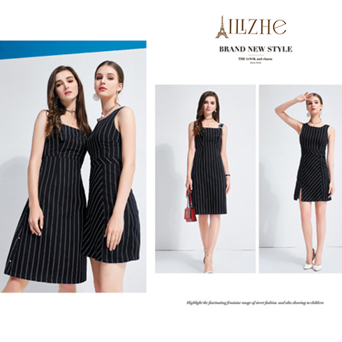 艾丽哲女装-夏季时尚条纹斜门襟连衣裙