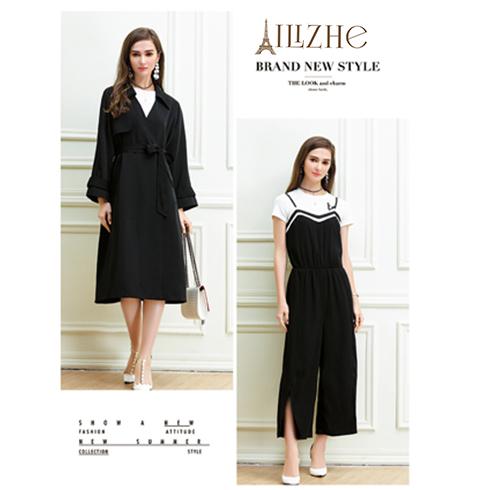 艾丽哲女装-单排斜扣系带中款连衣裙