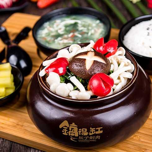 锅得缸坛子焖肉-鲜嫩香菇坛子汤