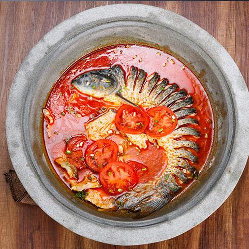 壹锅蒸能量蒸汽石锅鱼-红汤番茄石锅鱼