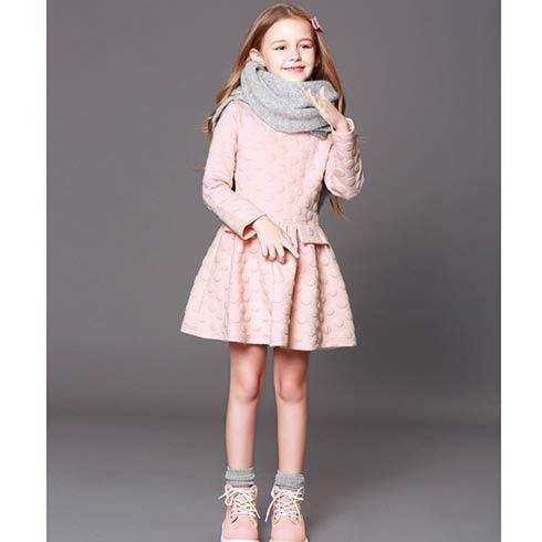 卡通伙伴童装-粉色长袖连衣裙
