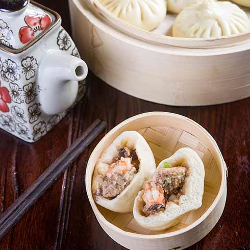 18道褶包子-鲜虾猪肉包