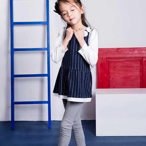 妙尼熊童装-平边竖条连衣裙